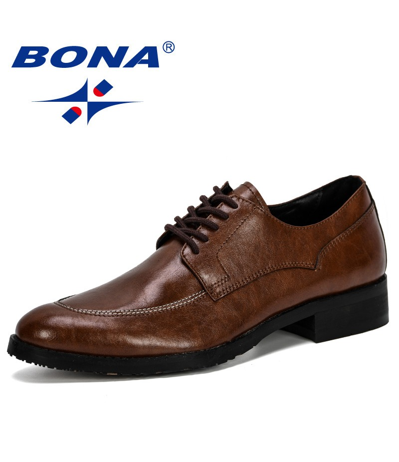 BONA 2019 New Designer Classic Man Round Toe Dress Shoes Men Leather Wedding Shoes Oxford Formal Shoes Fashion Male Comfortable