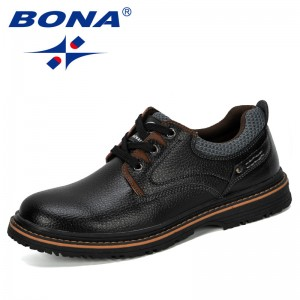 BONA 2019 New Designer Menl Leather Shoes Men Lace Up Formal Shoes Work Safety Shoes Man Round Toe Office Shoes Male Comfortable
