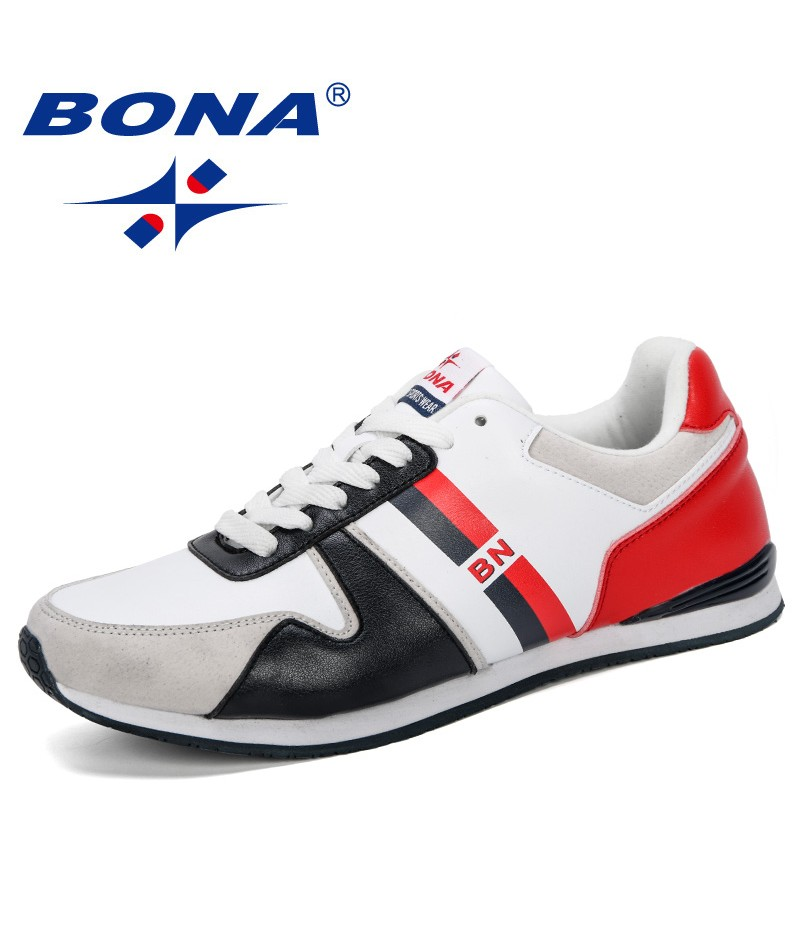 BONA 2019 New Designer Men Comfortable Sneakers Outdoor Male Wear-Resistant Lace-Up Causal Shoes Zapatos Hombre Leisure Footwear