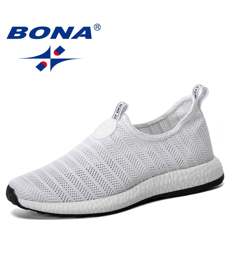 BONA 2019 New Popular Men Running Shoes Slip-On Sport Shoes Male Breathable Air Mesh Outdoor High Quality Footwear Jogging Shoes