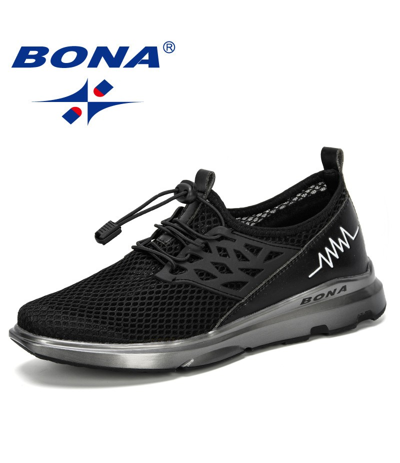BONA 2019 New Popular Style Men Casual Shoes Men Outdoor Sneakers Male Mesh Flats Loafers Slip On Big Size Breathable Trendy