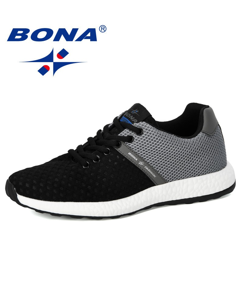 BONA SHOES 2019 New Vulcanize Shoes Men Sneakers Breathable Casual No-Slip Man Air Mesh Lace Up Wear-Resistant Tenis Masculino