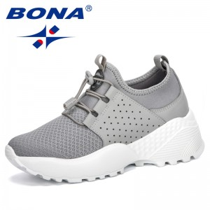 BONA 2019 Chunky Sneakers Fashion Women Platform Shoes Lace Up Vulcanize Shoes Womens Outdoor Female Trainers Dad Shoes Trendy