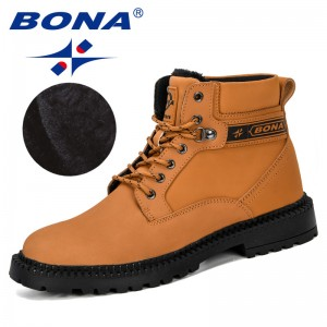 BONA 2019 New Designers Nubuck Leather Warm Men Boots Male Shoes Adult Snow Boots Mens Winter Footwear Outdoor Men Comfortable