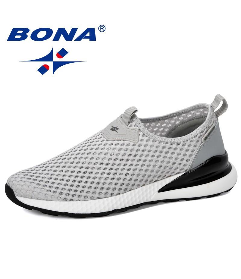 BONA 2019 New Designer Breathable Slip On Men Mesh Shoes Fashion Casual No-slip Men Vulcanize Shoes Tenis Masculino Comfortable
