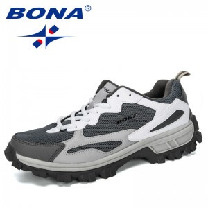 BONA 2019 New Designer Outdoor Men Cow Split Hiking Shoes Men Sport Shoes Trainers Shoes For Men Training Jogging Sneakers Shoes