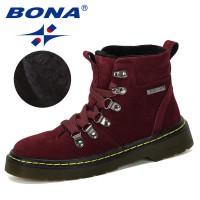 BONA 2019 New Popular Style Children Winter Shoes Boy Fashion Flock Boots Student Sneakers Plush Velvet Warm Kids Snow Boots
