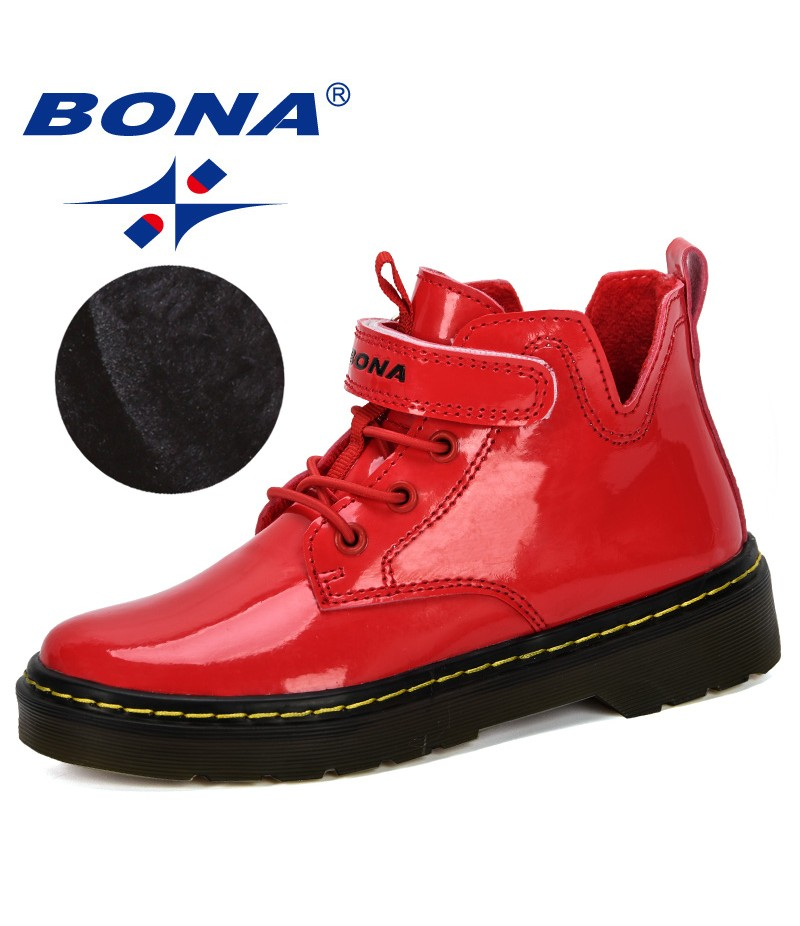BONA 2019 New Popular Winter Boy Boots Children Shoes New Girls Fashion Patent Leather Boots Student Sneakers Plush Velvet Boots