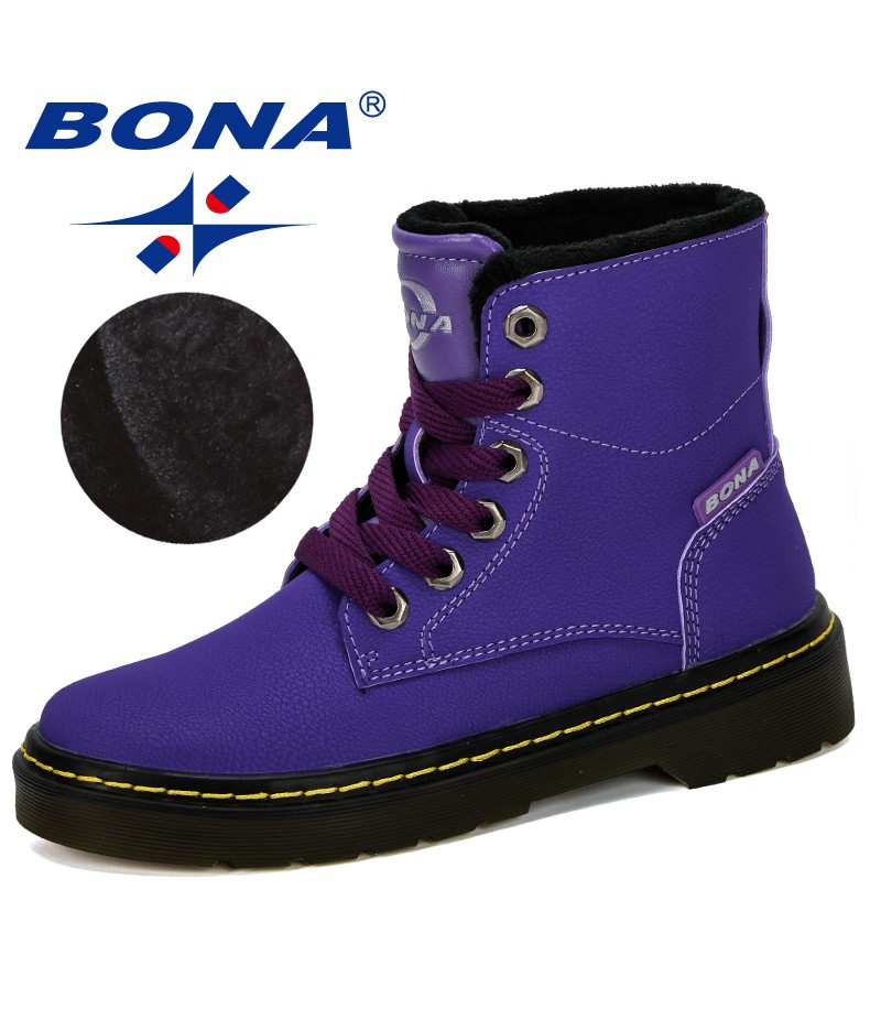 BONA 2019 New Designe Winter Boy Boots Children Shoes Leather Fashion Ankle Boots Student Sneakers Velvet Warm Kids Snown Boots