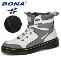 BONA 2019 New Designer Winter Warm Platform Snow Boots Children Casual Sneakers Faux Suede Leather Kids Snowboots Warm Plush