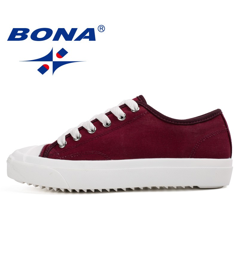 BONA New Women Skateboarding Shoes Lace Up Canvas Shoes Women Outdoor Walking Sneakers Popular Athletic Shoes For Women