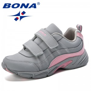 BONA Chinese Shoes manufacture  2019 Durable Kids Shoes Fashion Striped Contrast Color Boys Girls Sneakers Trendy Children Sports Shoes Running