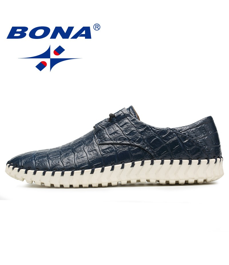 BONA New Fashion Style Men Casual Shoes Hand Made Lace Up Luxury Men Shoes Comfortable Loafers Moccasins Fast Free Shippin