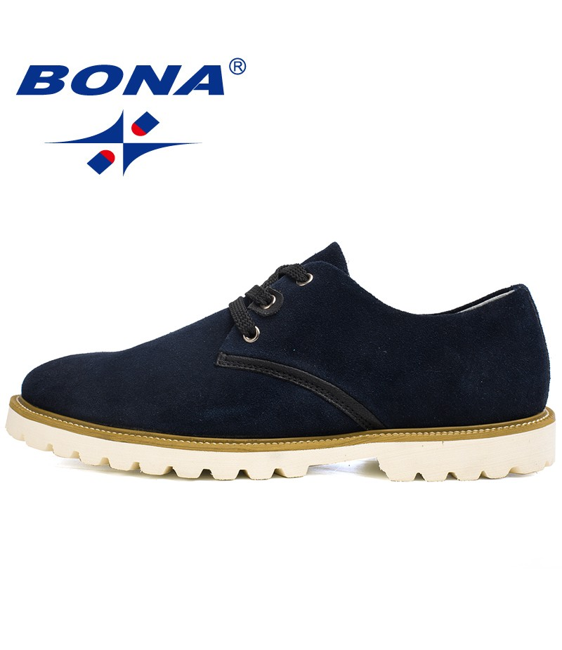 BONA New Arrival Popular Style Men Casual Shoes Lace Up Suede Leather Men Shoes Comfortable Light Soft Men Flats Free Shipping