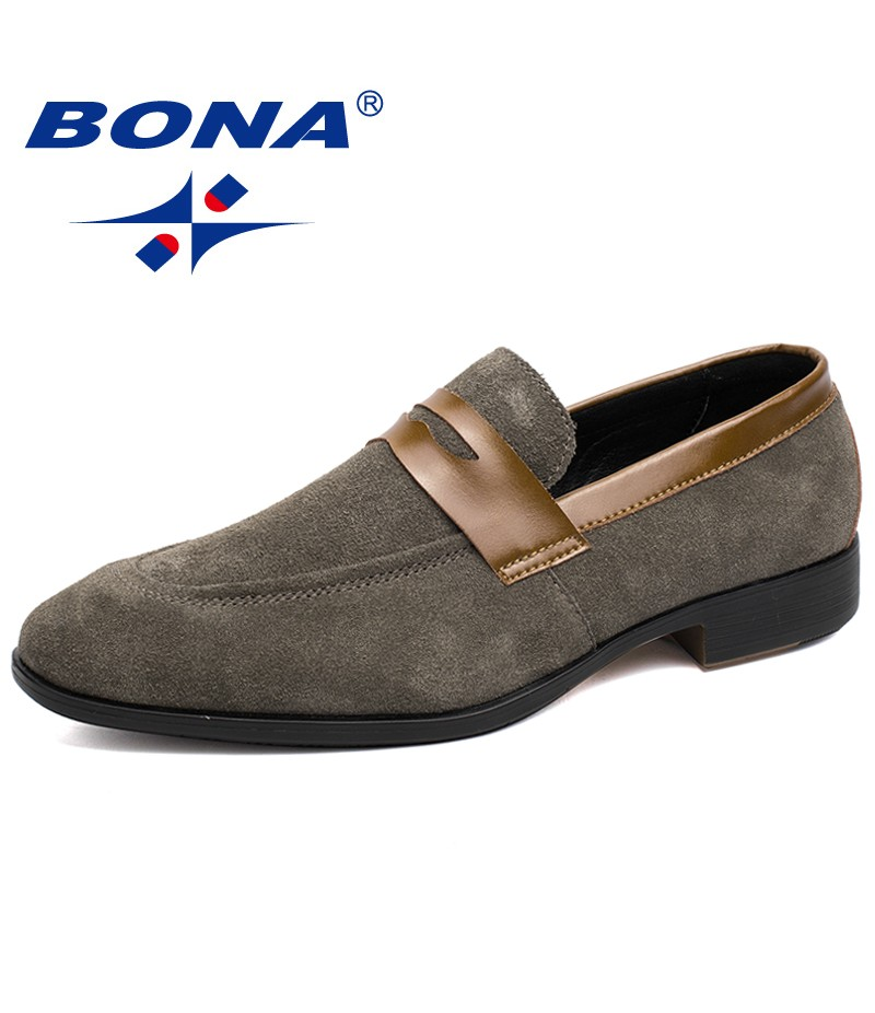BONA New Typical Style Men Formal Shoes Elastic Band Suede Leather Men Shoes Comfortable Men Flats Light Soft Fast Free Shipping