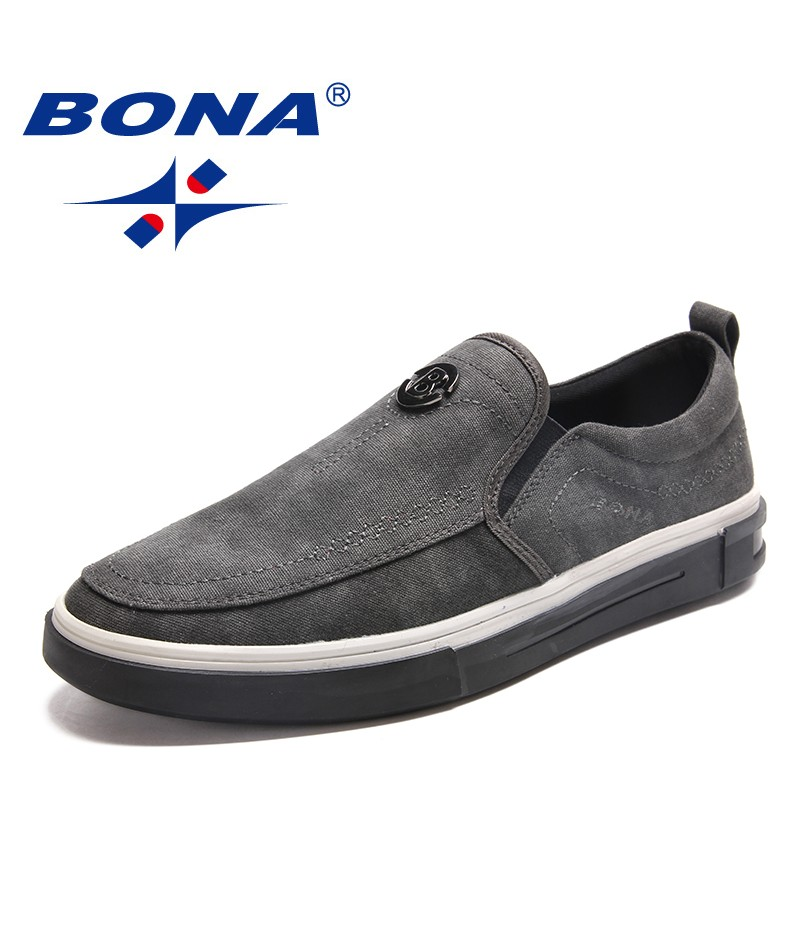 BONA New Fashion Style Men Casual Shoes Elastic Band Men Canvas Comfortable Men Loafers Light Soft Men Flats Fast Free Shipping