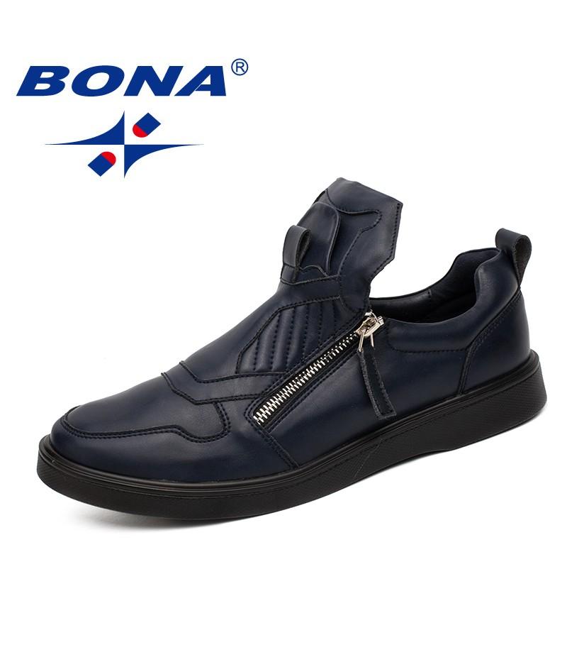 BONA New Popular Style Men Casual Shoes Zip Men Shoes Microfiber Men Loafers Comfortable Men Flats Light Soft Fast Free Shipping