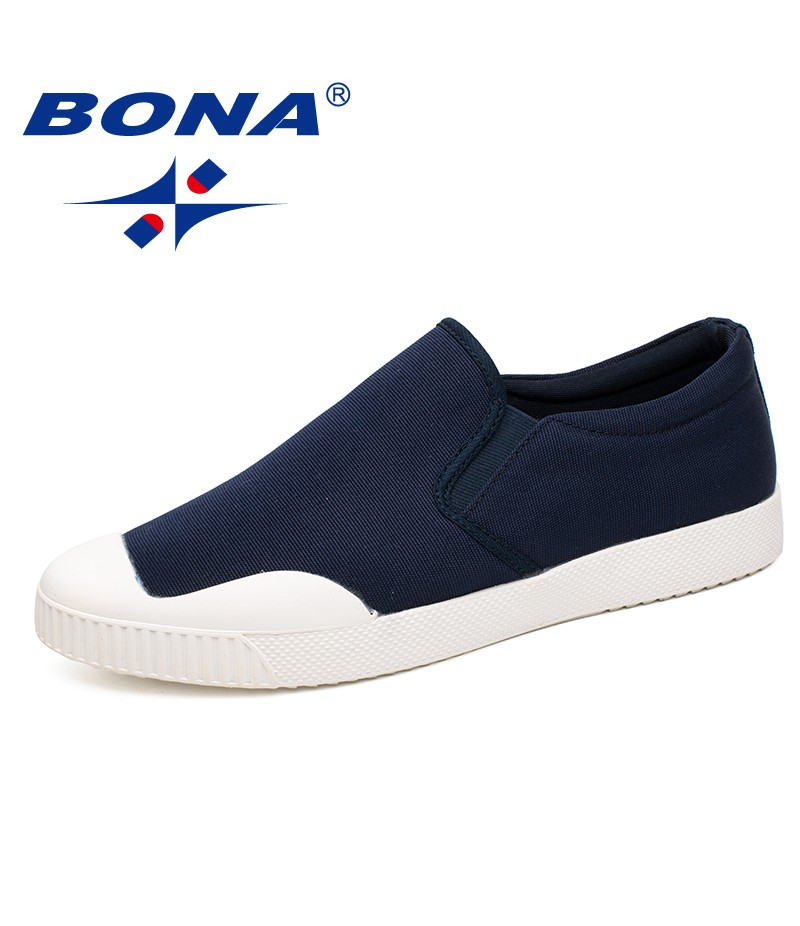 BONA New Fashion Style Men Casual Shoes Elastic Band Men Loafers Comfortable Men Canvas Light Soft Men Flats Fast Free Shipping