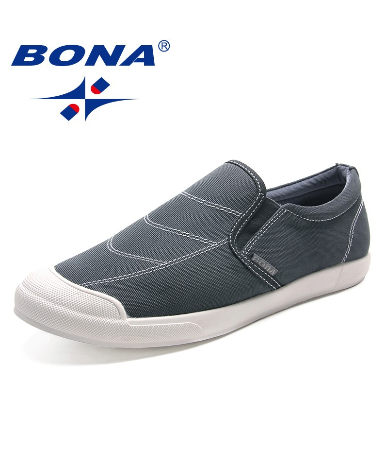 BONA New Popular Style Men Casual Shoes Elastic Band Men Shoes Canvas Men Loafers Comfortable Men Flats Soft Fast Free Shipping