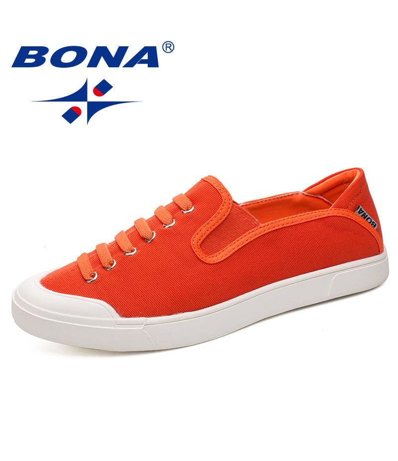 BONA New Fashion Style Men Casual Shoes Elastic Band Men Loafers Comfortable Men Canvas Shoes Light Soft Men Flats Free Shipping
