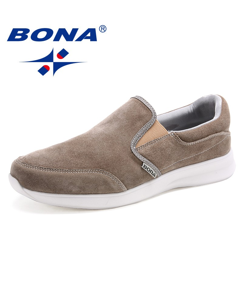 BONA New Arrival Classics Style Men Casual Shoes Elastic Band Men Loafers Suede Mem Shoes Comfortable Light Soft Free Shipping