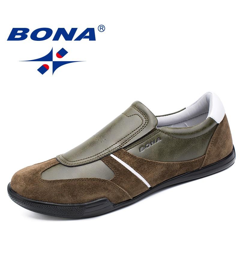 BONA New Fashion Style Men Casual Shoes Elastic Band Men Loafers Microfiber Men Shoes Comfortalbe Male Flats Fast Free Shipping