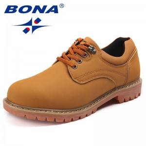 BONA Chinese Shoes Men Casual Shoes Action Leather Men Oxfords Lace Up Men Working Shoes Comfortable Soft Fast Free Shipping