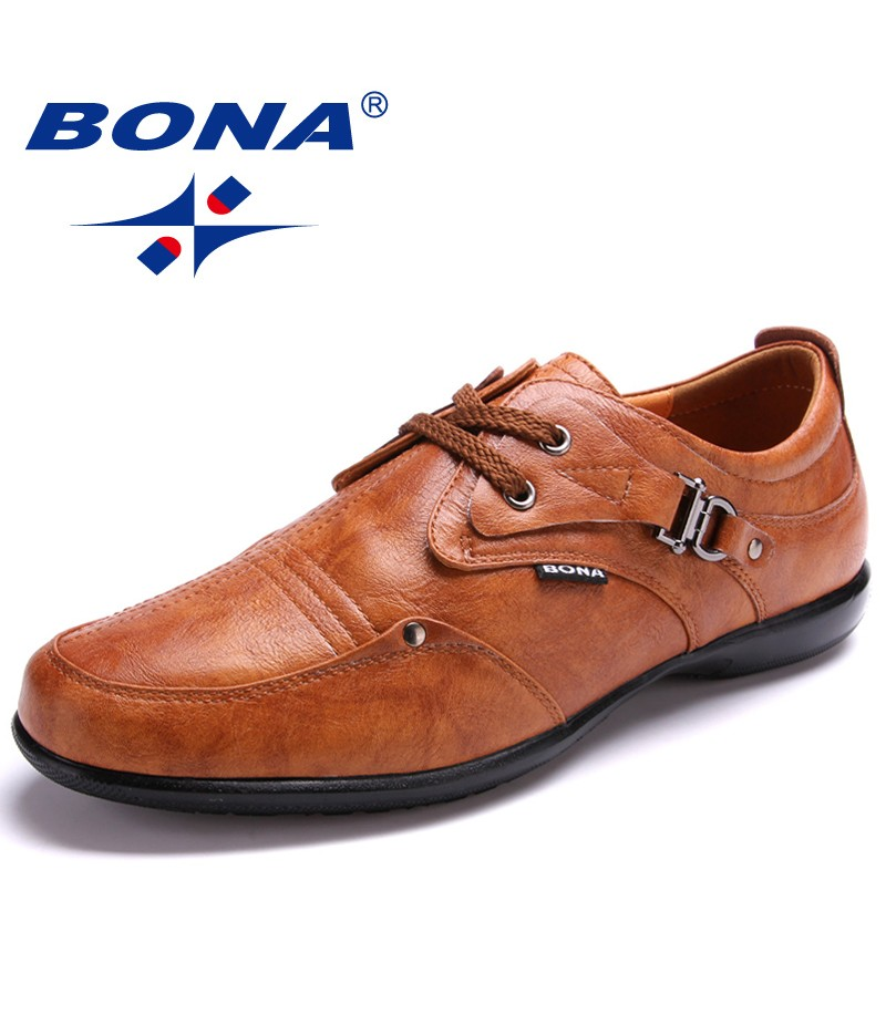 BONA New Arrival Popular Style Men Loafers Lace Up Men Casual Shoes Microfiber Men Shoes Comfortable Soft Light Free Shipping