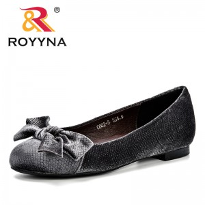 ROYYNA 2018 Autumn Woman Flock Flat Shoes Fashion Hand-Made Loafers Female Butterfly-Knot Comfortable Ultral Light Footwear