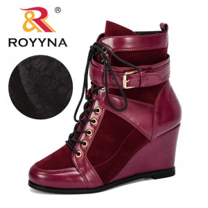 ROYYNA 2019 New Designer Popular Winter Women Boots Round Toe Ankle Booties High Heel Buckle Strap Autumn Shoes Woman Trendy