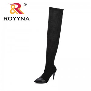 ROYYNA New Style Women Boots Over The Knee Boots Woman 2018 Stretch Fabric Fashion Boots Female Autumn Women Shoes Botas Mujer