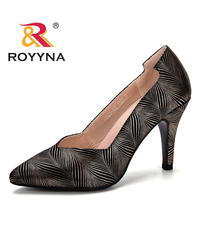 ROYYNA 2019 Spring Autumn New Style Women Pumps Pointed Toe High Heels Shoes Woman Flower Shoes Ladies Mujer Shoes Comfortable