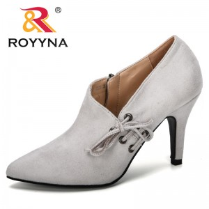 ROYYNA 2019 New Designer Popular Style Women's High Heels Sexy Party Pointed Toe Pumps Flock Zippers Women Dress Shoes Trendy