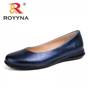 ROYYNA China Shoes  Women Flats Round Toe Women Loafers Metal Color Material Female Shoes Light Soft PU Out Soles Ladies Shoes