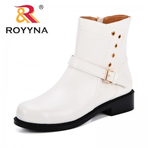 ROYYNA 2018 Fashion Side Zipper Women Boots Spring Autumn Ankle Platform Rivets Boots Lady Boots Microfiber Leather Short Plush