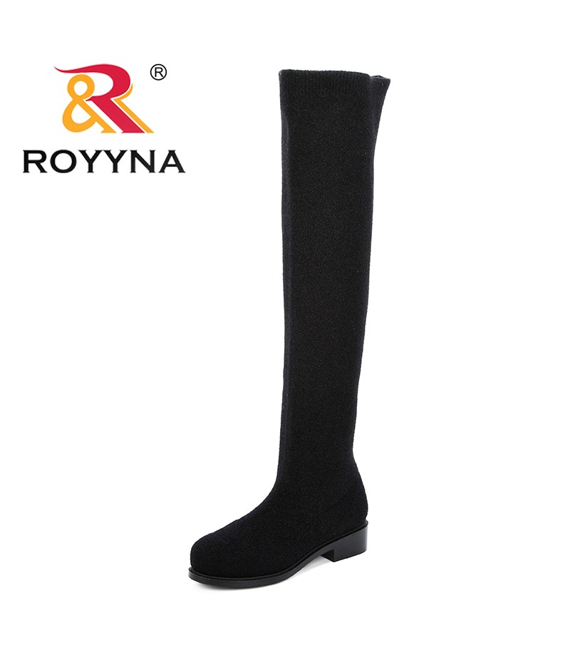 ROYYNA 2019 Women Boots Over The Knee Boots Woman Stretch Fabric Knee High Boots Female Spring Autumn Women Shoes Botas Mujer