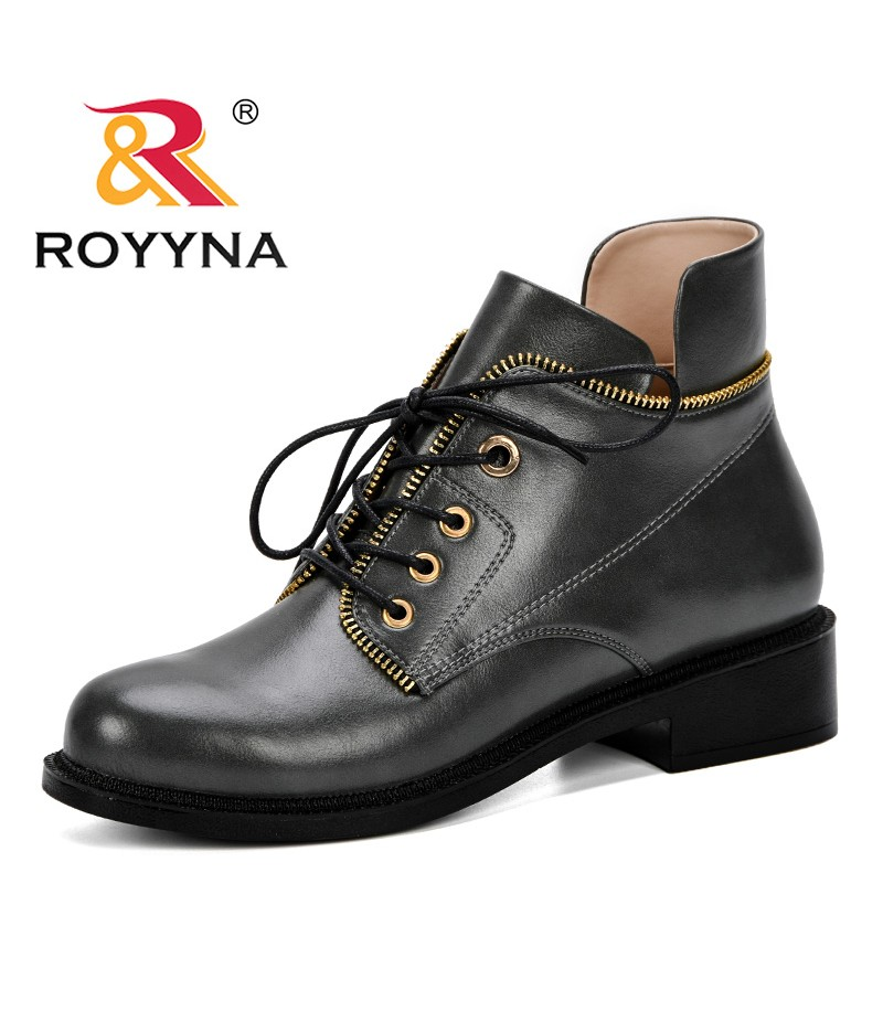 ROYYNA New Arrival Autumn Winter Boots Women Zipper Decoration Microfiber Med Chunky Heels Boots Female Shoes Ladies Fashion