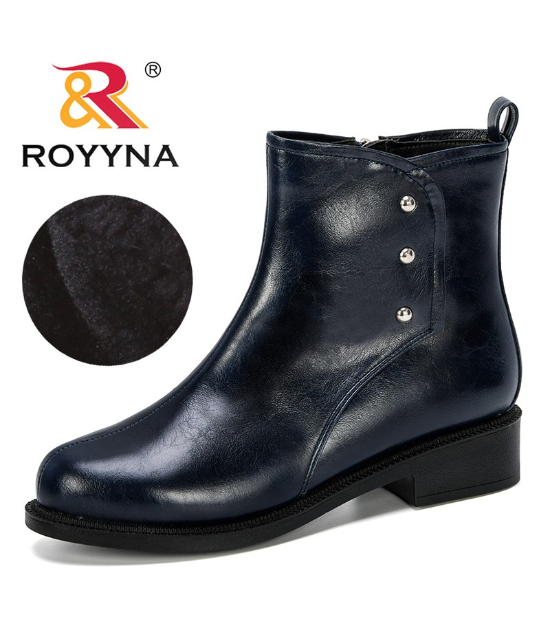 ROYYNA 2019 New Popular Style Women Winter Shoes Heels Winter Boots Woman Ankle Botas Mujer Warm Plush Insole Shoes Woman Trendy