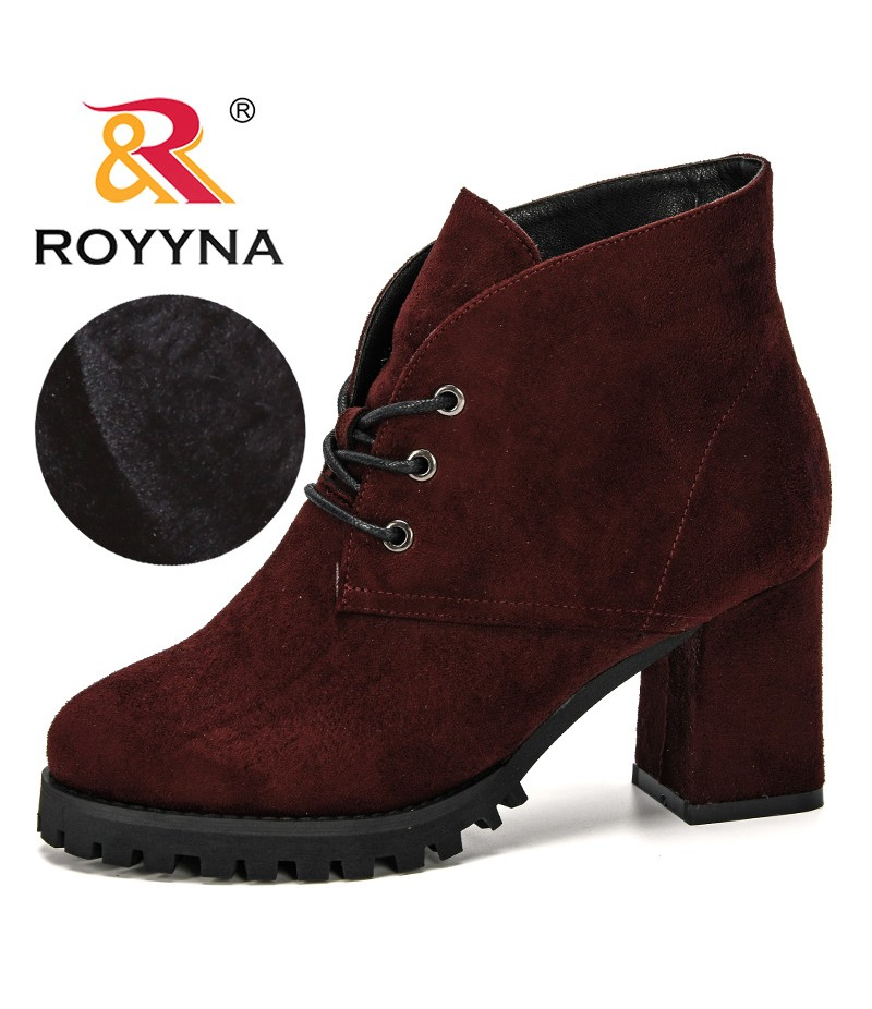 ROYYNA 2019 New Classics Winter Boots Women Flock Ankle Boots Woman Outdoor Ladies Party Western Boots Plush Comfortable Trendy