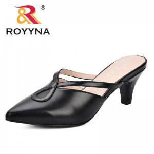 ROYYNA 2019 New Style Women Summer Mules Slippers High Heels Ladies Pointed Toe Strange Style Outside Shoes For Feminimo Trendy