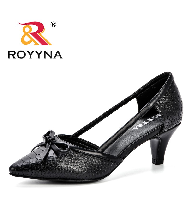 ROYYNA 2019 Summer New Fashion Style Women Pumps Thick Heels Shoe Women's Stiletto Buckle Shoes Chaussures Feminimo Comfortable