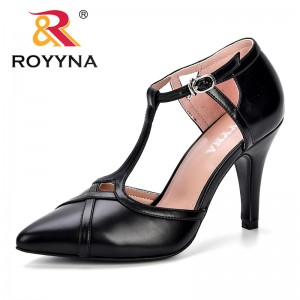 ROYYNA 2019 Summer Shallow T-Strap Buckle Women Pumps Fashion High Heels Shoes Pointed Toe Cut-Outs Women's Sexy Party Shoes