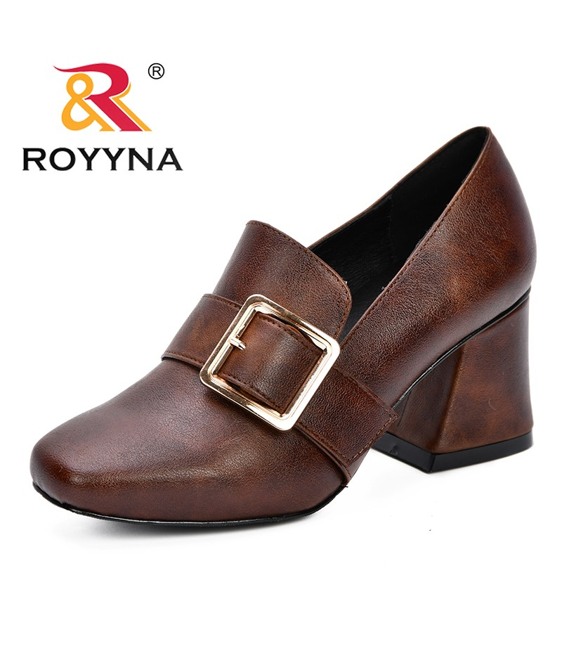 ROYYNA 2019 New Arrival Classics Popular Style Women Pumps High Heel Shoes Woman Party Wedding Shoes Square Heels Comfortable