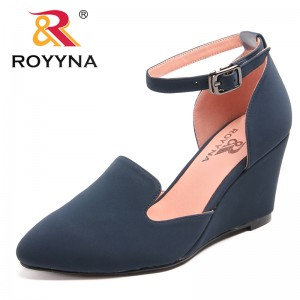 ROYYNA New Leisure Style Women Pumps Round Toe Women Dress Shoes Wedges Lady Wedding Shoes Flock Lady Leisure Shoe Free Shipping
