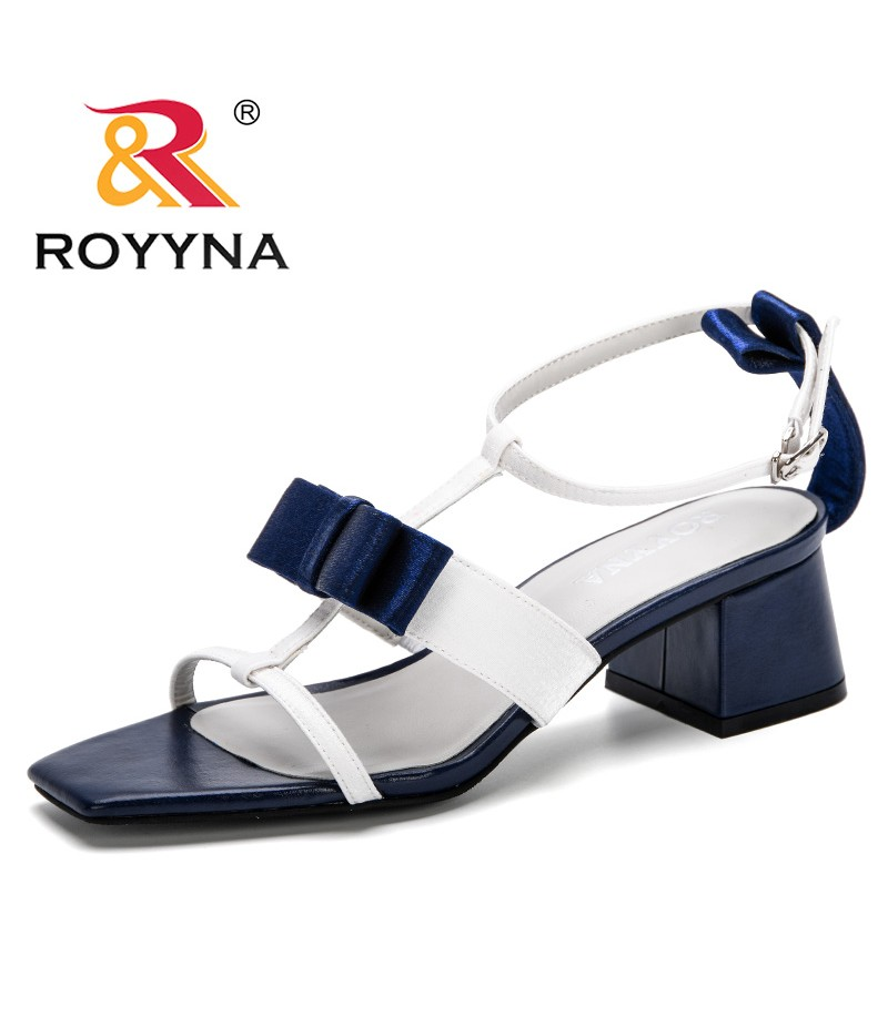 ROYYNA 2019 New Women Sandals Summer Shoes High Heels Party Shoes Sexy Open Toe Ladies Sandals Square Heels Trendy Comfortable