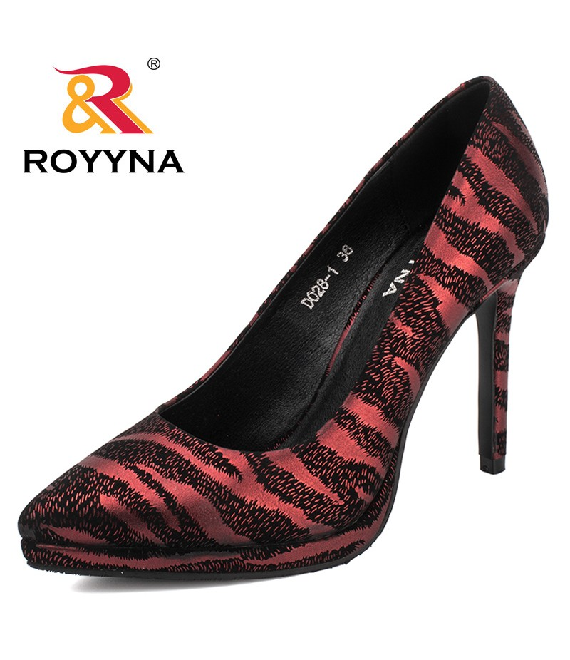 ROYYNA New Fashion Style Women Pumps Hight Thin Heels Women Shoes Platform Zebra Stripes Ladies Wedding Shoes Free Shipping