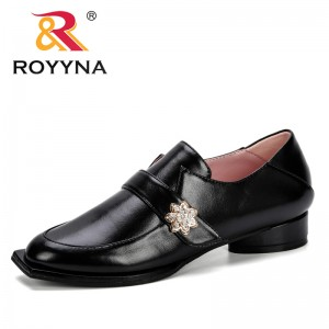 ROYYNA 2019 Spring Autumn Slip On Fashions Shoes Lower Heels Crystral Strange Style Square Toe Pumps Casual Women D033-8