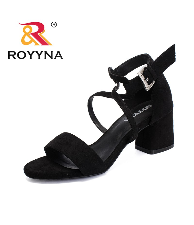 ROYYNA New Classics Style Women Sandals Flock Feminimo Summer Shoes Square High Heels Female Slippers Light Soft Free Shipping