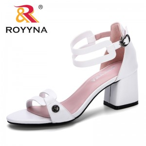 ROYYNA 2019 New Designer Summer Sandals For Women Fashion Women Comfortable Sandals Ankle High Heel Block Party Open Toe Shoes