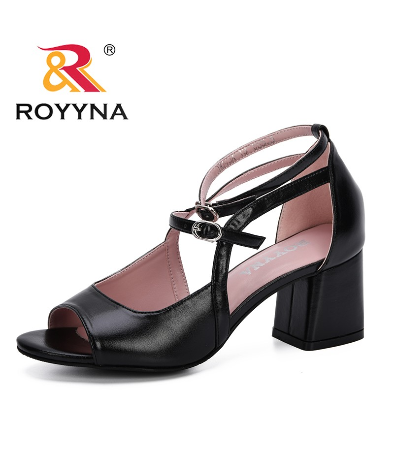 ROYYNA 2019 New Popular Style Spring Summer Women Wedge Sandals Fashion Fish Mouth Hollow Roma Shoes Lady Shoes High Square Heel